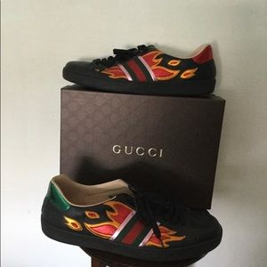 Gucci Men's Black Ace Sneakers w/Flames 440727